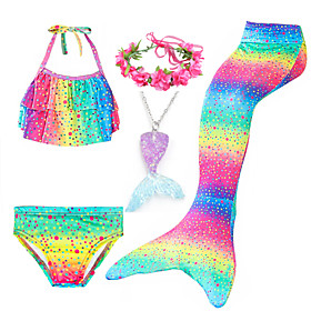Kids Girls' Active Cute Mermaid Tail Polka Dot Color Block Rainbow Lace up Sleeveless Swimwear Rainbow