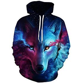 Men's Daily Hoodie Sweatshirt Pullover Sweatshirt 3D Print Fox Modern Style Hooded Active Hoodies Sweatshirts  Long Sleeve Blue / Fall / Winter