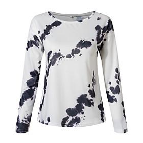 Women's Blouse Shirt Abstract Long Sleeve Print Round Neck Tops Basic Basic Top White Black Blue