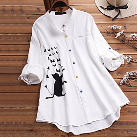 Women's Blouse Shirt Animal Long Sleeve Button Round Neck Tops Loose Basic Basic Top White Brown