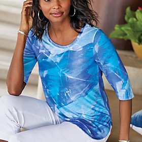 Women's Blouse Shirt Abstract Print Round Neck Tops Basic Basic Top Blue