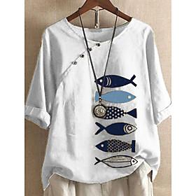 Women's Blouse Shirt Animal Print Boat Neck Tops Cotton Basic Basic Top White Blue Yellow