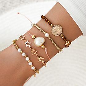 5pcs Women's Bead Bracelet Vintage Bracelet Bracelet Braided Star Classic Vintage Trendy Fashion Alloy Bracelet Jewelry Gold For Party Evening Date Birthday Be