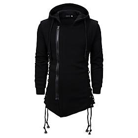 Men's Daily Hoodie Solid Colored Hooded Basic Hoodies Sweatshirts  Black Dark Gray
