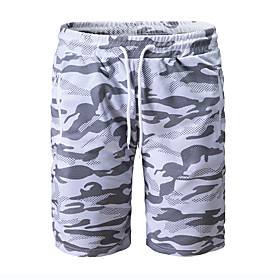 Men's Basic Daily Holiday Slim Cotton Sweatpants Shorts Pants Camouflage Classic Drawstring Breathable Summer White Black US32 / UK32 / EU40 US34 / UK34 / EU42
