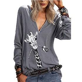 Women's Blouse Shirt Animal Long Sleeve Print V Neck Tops Cotton Basic Basic Top Blue Purple Khaki