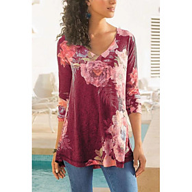 Women's Blouse Shirt Abstract Long Sleeve Print V Neck Tops Basic Basic Top Blue Red Gray