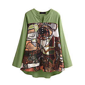 Women's Blouse Shirt Abstract Long Sleeve Button V Neck Tops Loose Cotton Basic Basic Top Green Navy Blue