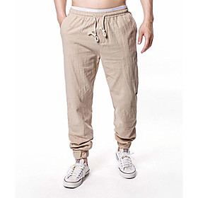 Men's Basic Daily Slim Linen Harem Jogger Chinos Pants Solid Colored Breathable Spring Fall White Black Camel US38 / UK38 / EU46 US40 / UK40 / EU48 US42 / UK42