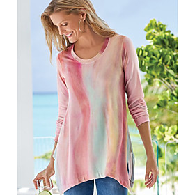 Women's Blouse Shirt Abstract Long Sleeve Print Round Neck Tops Basic Basic Top Blushing Pink