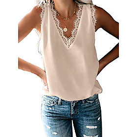 women ladies sexy v neck lace trim short sleeve tops casual loose blouse shirts work white m