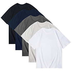 Women's 5 Piece T-shirt Solid Colored Round Neck Tops Basic Basic Top 5 colors