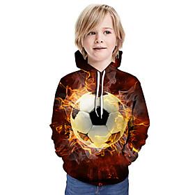 Kids Boys' Active Basic Color Block 3D Graphic Print Long Sleeve Hoodie  Sweatshirt Brown