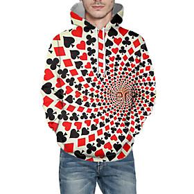 Men's Daily Pullover Hoodie Sweatshirt 3D Abstract Graphic Hooded Basic Hoodies Sweatshirts  Long Sleeve Red