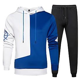 Men's Daily Activewear Set Color Block Hooded Basic Hoodies Sweatshirts  Long Sleeve Black Blue Khaki