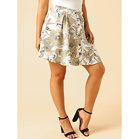 Women's Casual / Daily Basic Above Knee Skirts Floral Patchwork
