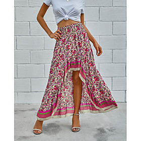 Women's Casual / Daily Basic Asymmetrical Skirts Floral