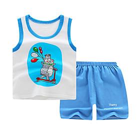 Kids Boys' Basic Daily Cartoon Letter Print Sleeveless Regular Regular Clothing Set Light Blue