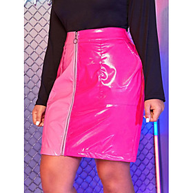 Women's Casual / Daily Basic Above Knee Skirts Color Block