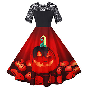 Pumpkin Dress Adults Women's Vacation Dress Halloween Halloween Festival / Holiday Polyster Black / Blue / Purple Women's Easy Carnival Costumes