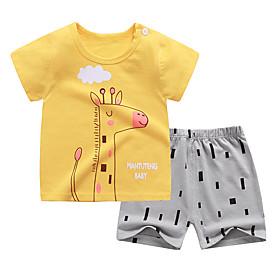 Kids Boys' Basic Daily Cartoon Letter Print Short Sleeve Regular Clothing Set Yellow