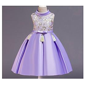 Kids Girls' Basic Blue Solid Colored Sleeveless Knee-length Dress Purple