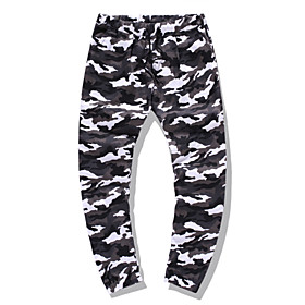 Men's Chinoiserie Folk Style Daily Home Jogger Pants Camouflage Black  Gray Baggy Drawstring Outdoor White Army Green Khaki S M L