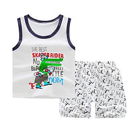 Kids Boys' Basic Daily Cartoon Letter Print Sleeveless Regular Regular Clothing Set White