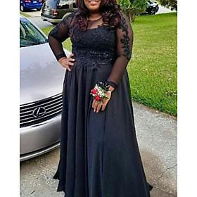 A-Line Elegant Plus Size Wedding Guest Formal Evening Dress Jewel Neck Long Sleeve Floor Length Lace Satin with Pleats Appliques 2020