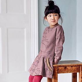 Kids Girls' Basic Cat Animal Print Long Sleeve Above Knee Dress Blushing Pink