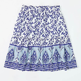 Women's Casual / Daily Basic Chinoiserie Plus Size Mini Skirts Floral / Loose