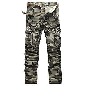 Men's Basic Daily Tactical Cargo Pants Camouflage Print Gray 30 31 32