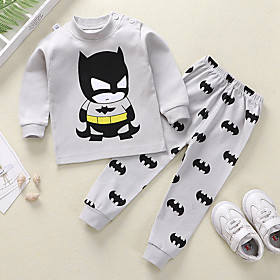Kids Boys' Basic Daily Cartoon Print Long Sleeve Regular Clothing Set Light gray
