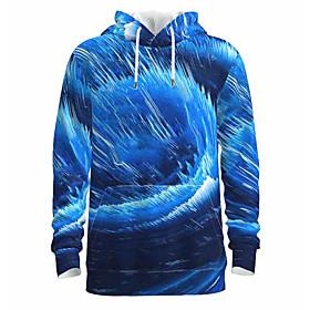 Men's Daily Pullover Hoodie Sweatshirt 3D Abstract Graphic Hooded Basic Hoodies Sweatshirts  Long Sleeve Blue