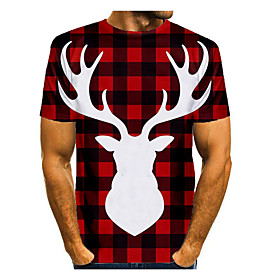 Men's Christmas T-shirt Color Block 3D Graphic Short Sleeve Tops Basic Round Neck Black / Red