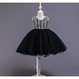 Kids Girls' Basic Black White Solid Colored Sleeveless Knee-length Dress White