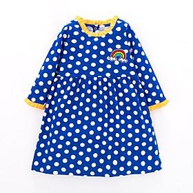 Kids Girls' Basic Blue Polka Dot Print Long Sleeve Above Knee Dress Blue