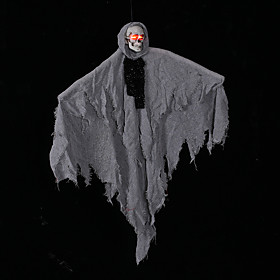 Halloween Party Toys Halloween Hanging Ghost Skull Skeleton Electric with Scary Sound and Glowing LED Red Eyes Resin Kid's Adults Trick or Treat Halloween Part
