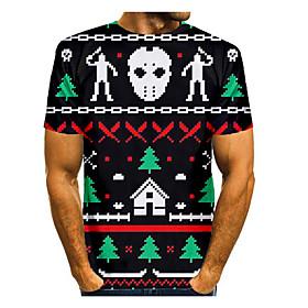 Men's Christmas T-shirt 3D Graphic Skull Short Sleeve Tops Basic Round Neck Black