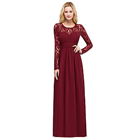 A-Line Elegant Minimalist Wedding Guest Formal Evening Dress Illusion Neck Long Sleeve Floor Length Spandex with Pleats 2020