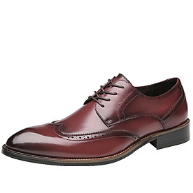 Men's Oxfords Business Daily Walking Shoes Cowhide Breathable Non-slipping Wine / Black Spring / Fall / Square Toe