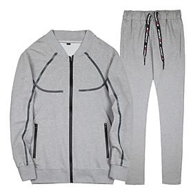 Men's Daily Activewear Set Color Block Casual Streetwear Hoodies Sweatshirts  Long Sleeve Black Beige Gray