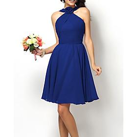 A-Line Elegant Minimalist Homecoming Cocktail Party Dress Halter Neck Sleeveless Short / Mini Chiffon with Sleek 2020