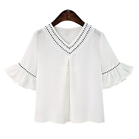 Women's Blouse Shirt 3D Print V Neck Tops Chiffon Basic Basic Top White