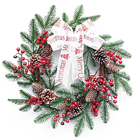 16-inch Indoor Artificial Snow Flocked Christmas Pine Wreath for Home Decoration and Party Decor