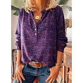 Women's Blouse Shirt Abstract Long Sleeve Print V Neck Tops Basic Top Purple Red Wine