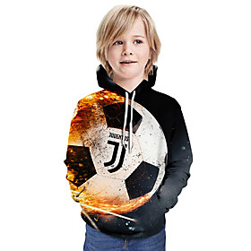 Kids Boys' Active Basic Color Block 3D Graphic Print Long Sleeve Hoodie  Sweatshirt Dark Gray