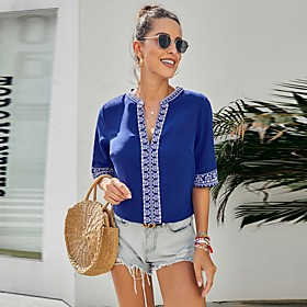 Women's Blouse Shirt Abstract Print V Neck Tops Basic Basic Top Black Blue Red
