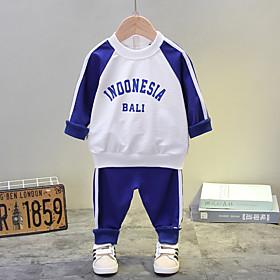 Kids Boys' Basic Daily Blue Striped Letter Print Long Sleeve Regular Regular Clothing Set Blue