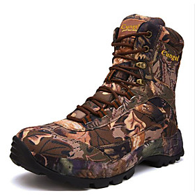Men's Boots Sporty Athletic Daily Hiking Shoes / Walking Shoes Polyester Non-slipping Wear Proof Black / Khaki / Brown Camouflage Spring / Fall